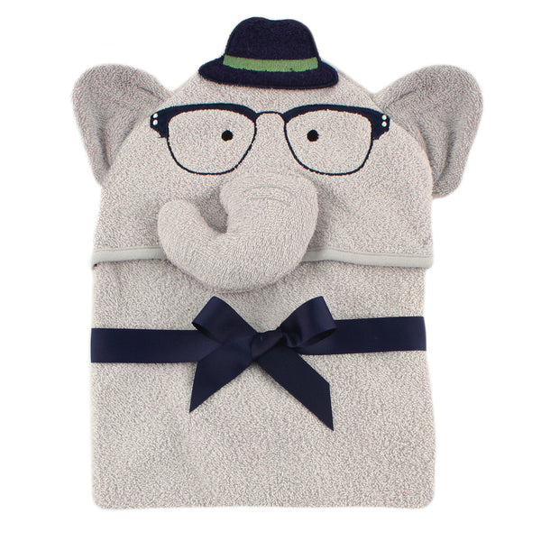 Hudson Baby Cotton Animal Face Hooded Towel, Smart Elephant