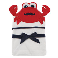 Hudson Baby Cotton Animal Face Hooded Towel, Mr Crab