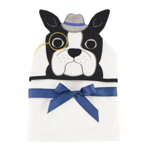 Hudson Baby Cotton Animal Face Hooded Towel, Dapper Dog