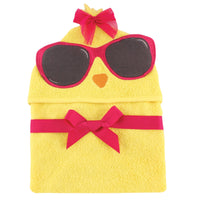 Hudson Baby Cotton Animal Face Hooded Towel, Cool Chick