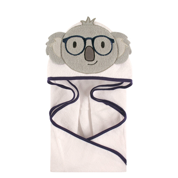 Hudson Baby Cotton Animal Face Hooded Towel, Koala