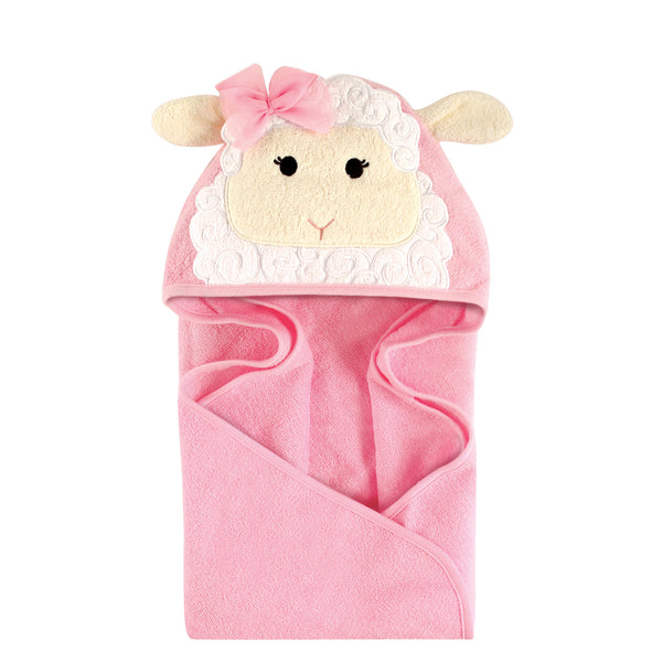 Hudson Baby Cotton Animal Face Hooded Towel, Lamb