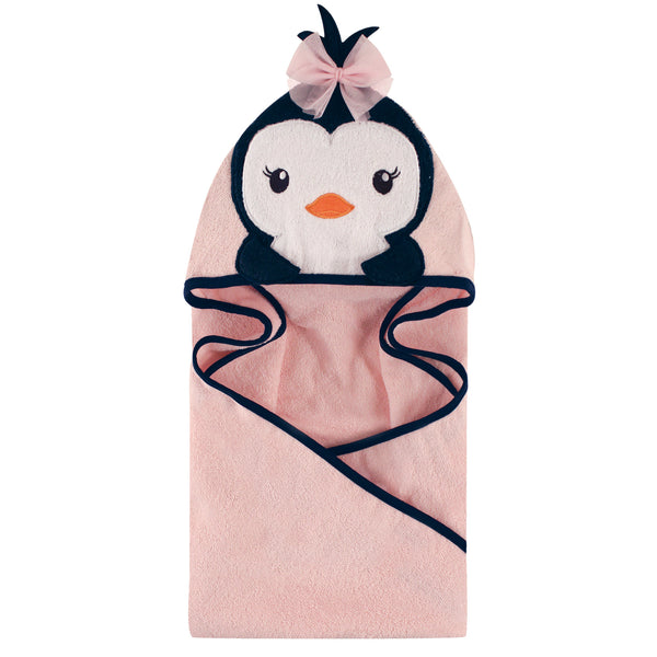 Hudson Baby Cotton Animal Face Hooded Towel, Miss Penguin