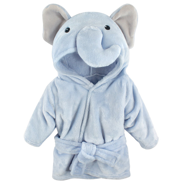 Hudson Baby Plush Animal Face Bathrobe, Blue Elephant
