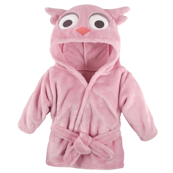 Hudson Baby Plush Animal Face Bathrobe, Pink Owl