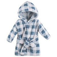 Hudson Baby Plush Animal Face Bathrobe, Blue Plaid
