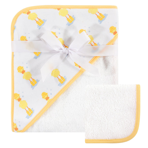 Hudson Baby Cotton Hooded Towel and Washcloth, Duck