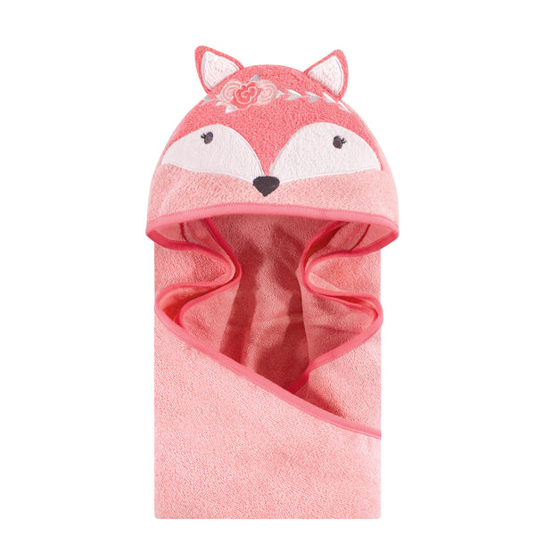 Hudson Baby Cotton Animal Face Hooded Towel, Boho Fox