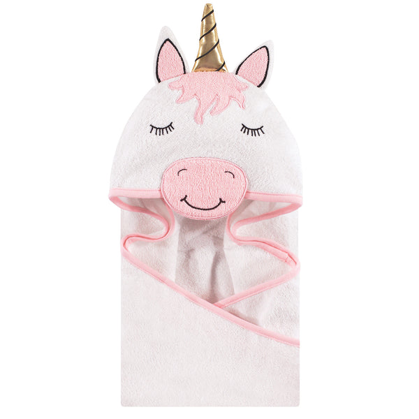 Hudson Baby Cotton Animal Face Hooded Towel, Modern Unicorn