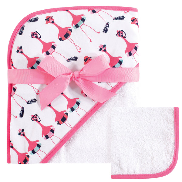 Hudson Baby Cotton Hooded Towel and Washcloth, Fancy Flamingo