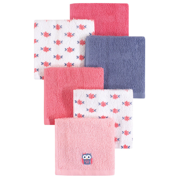 Hudson Baby Super Soft Cotton Washcloths, Girl Owl