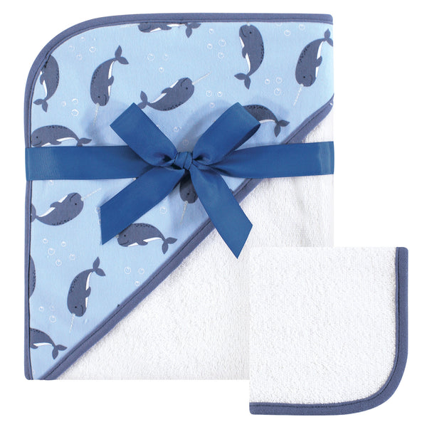 Hudson Baby Cotton Hooded Towel and Washcloth, Narwhal