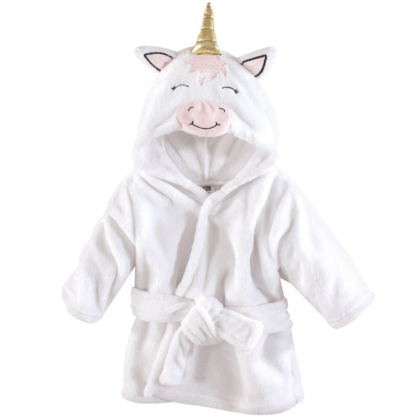 Hudson Baby Plush Animal Face Bathrobe, Modern Unicorn