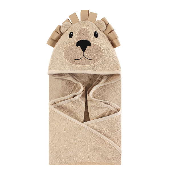 Hudson Baby Cotton Animal Face Hooded Towel, Lion