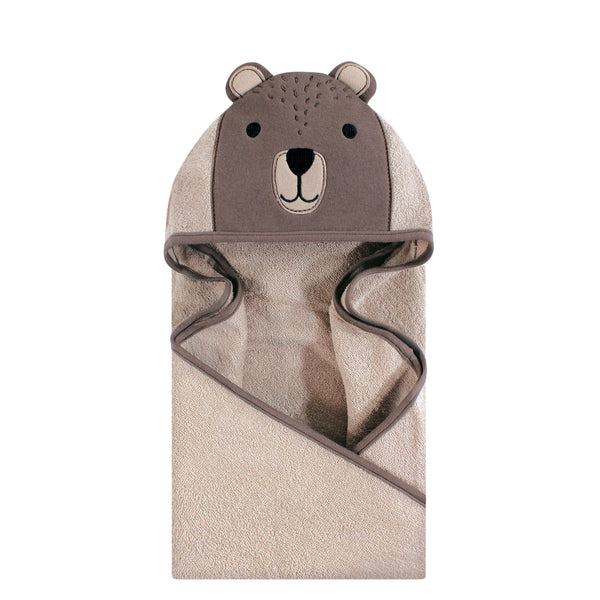 Hudson Baby Cotton Animal Face Hooded Towel, Modern Bear