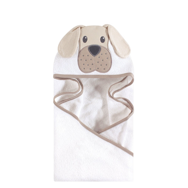 Hudson Baby Cotton Animal Face Hooded Towel, Tan Puppy
