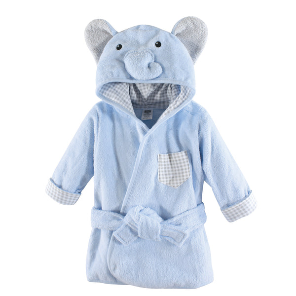 Hudson Baby Cotton Animal Face Bathrobe, Blue Elephant