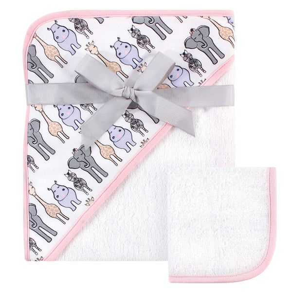 Hudson Baby Cotton Hooded Towel and Washcloth, Pink Safari