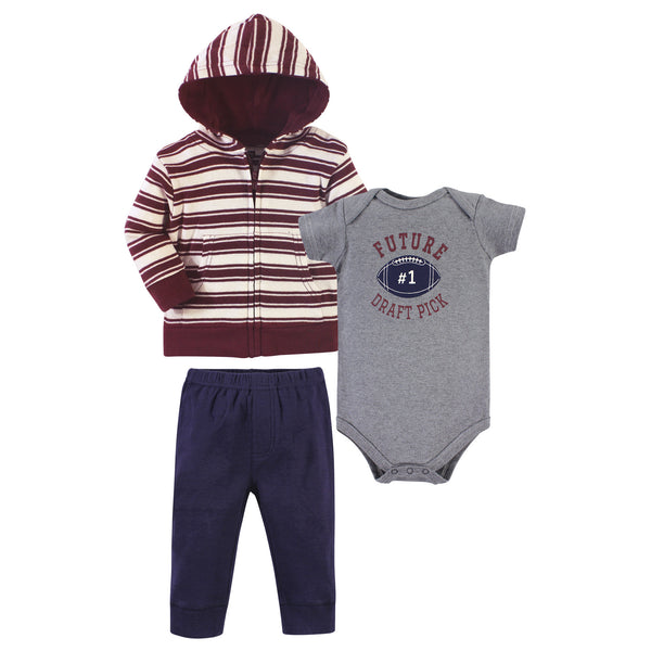 Hudson Baby Cotton Hoodie, Bodysuit or Tee Top and Pant Set, One Draft Pick Baby