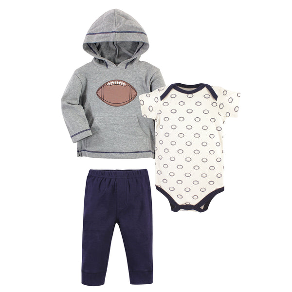 Hudson Baby Cotton Hoodie, Bodysuit or Tee Top and Pant Set, Football Baby
