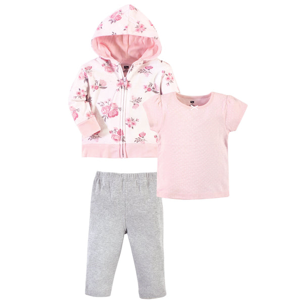 Hudson Baby Cotton Hoodie, Bodysuit or Tee Top and Pant Set, Pink Floral Toddler