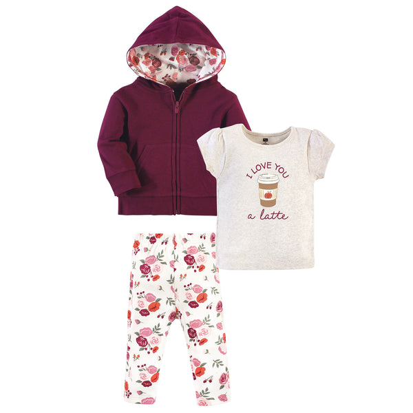 Hudson Baby Cotton Hoodie, Bodysuit or Tee Top and Pant Set, Fall Floral Toddler