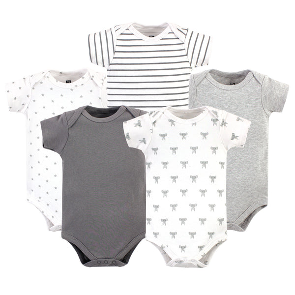 Hudson Baby Cotton Bodysuits, Prints Modern Elephant