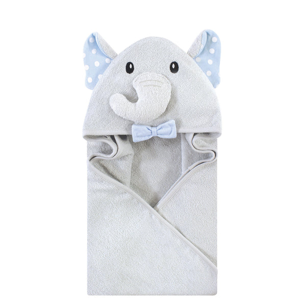 Hudson Baby Cotton Animal Face Hooded Towel, White Dots Gray Elephant