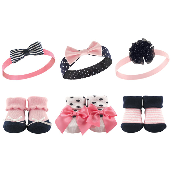 Hudson Baby Headband and Socks Giftset, Pink Navy