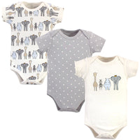 Hudson Baby Cotton Bodysuits, Royal Safari 3-Pack