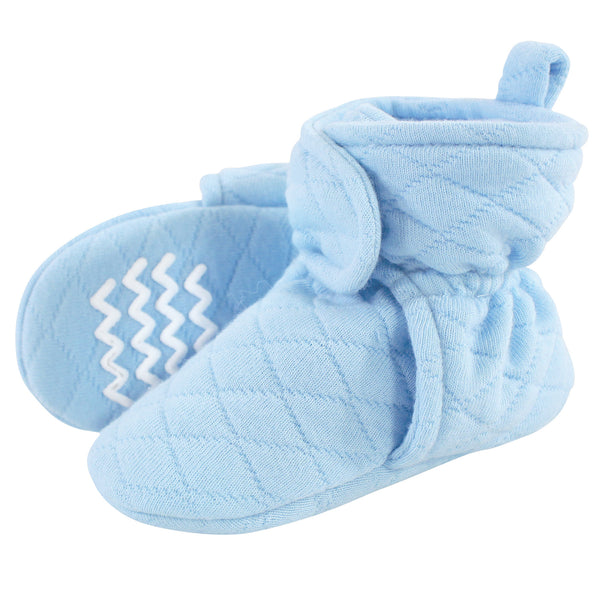 Hudson Baby Quilted Booties, Light Blue
