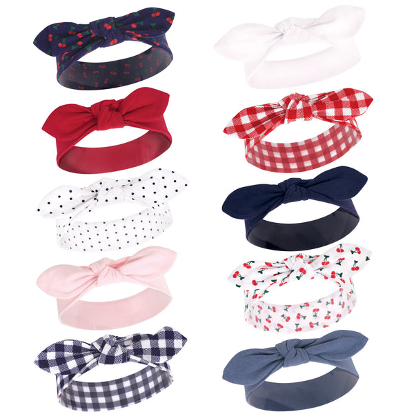 Hudson Baby Cotton and Synthetic Headbands, Cherries 10-Pack