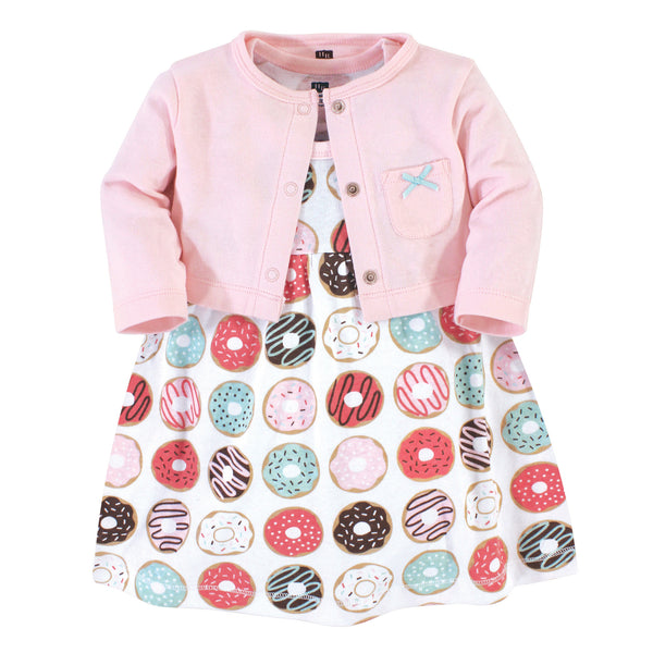 Hudson Baby Cotton Dress and Cardigan Set, Donuts