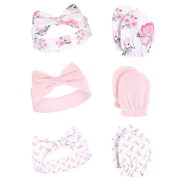Hudson Baby Cotton Headband and Scratch Mitten Set, Pink Floral