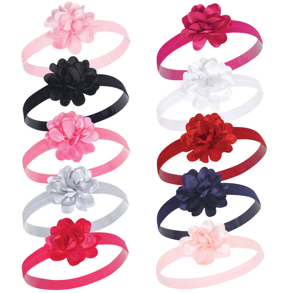 Hudson Baby Cotton and Synthetic Headbands, Satin Pink Black
