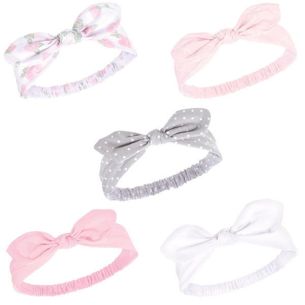 Hudson Baby Cotton and Synthetic Headbands, Pink Rose