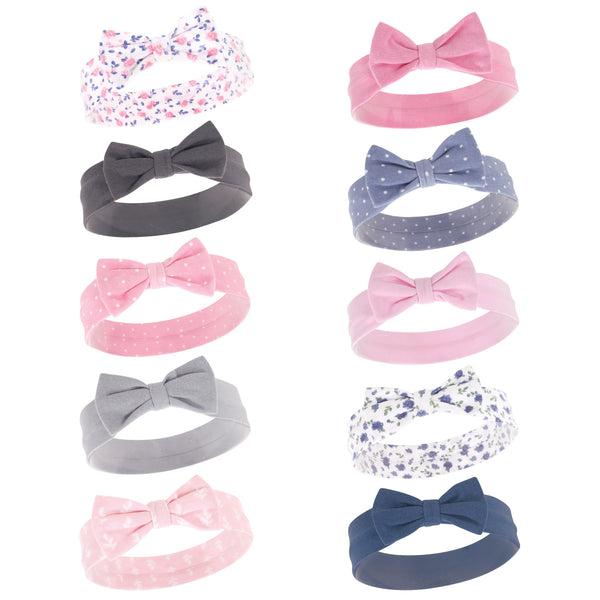 Hudson Baby Cotton and Synthetic Headbands, Pink Blue Flower
