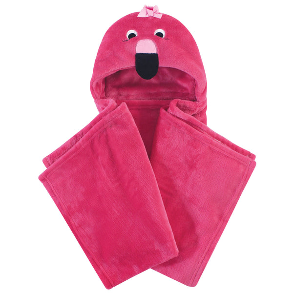 Hudson Baby Hooded Animal Face Plush Blanket, Flamingo