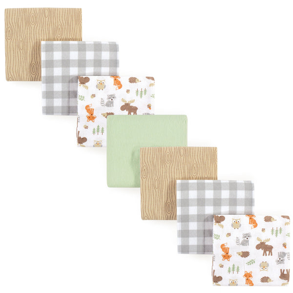 Hudson Baby Cotton Flannel Receiving Blankets Bundle, Woodland