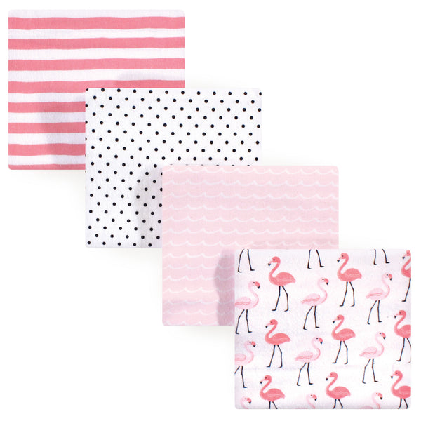 Hudson Baby Cotton Flannel Receiving Blankets, Flamingos