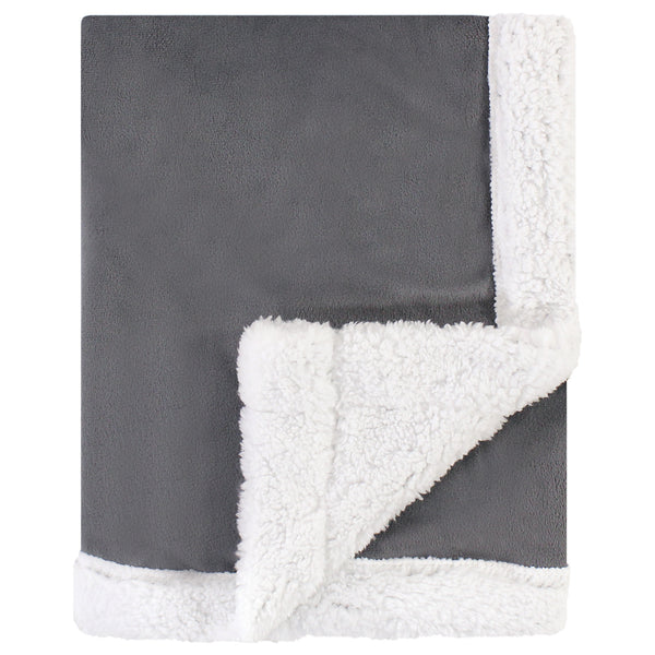 Hudson Baby Plush Blanket with Sherpa Back, Charcoal White