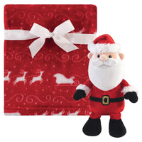 Hudson Baby Plush Blanket with Toy, Santa