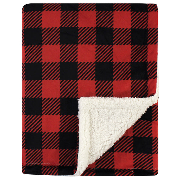 Hudson Baby Plush Blanket with Sherpa Back, Buffalo Plaid