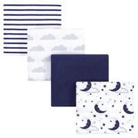 Hudson Baby Cotton Flannel Receiving Blankets, Moon