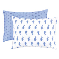 Hudson Baby Cotton Toddler Pillow Case, Blue Whale