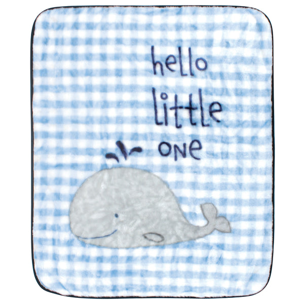 Hudson Baby High Pile Plush Blanket, Hello Little One