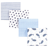 Hudson Baby Cotton Flannel Receiving Blankets, Narwhal