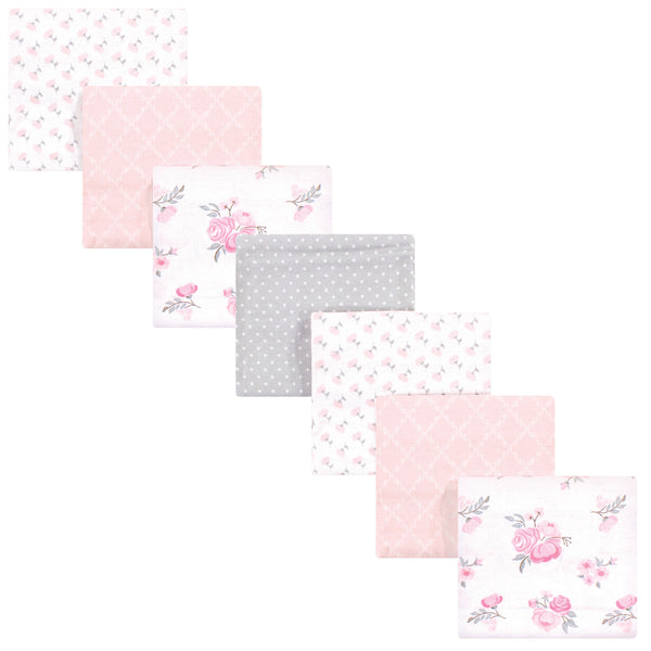 Hudson Baby Cotton Flannel Receiving Blankets Bundle, Pink Floral