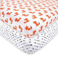 Hudson Baby Cotton Fitted Crib Sheet, Foxes