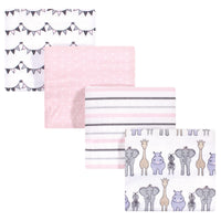 Hudson Baby Cotton Flannel Receiving Blankets, Pink Safari